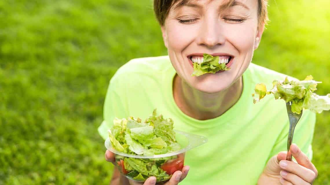 Women eating health food